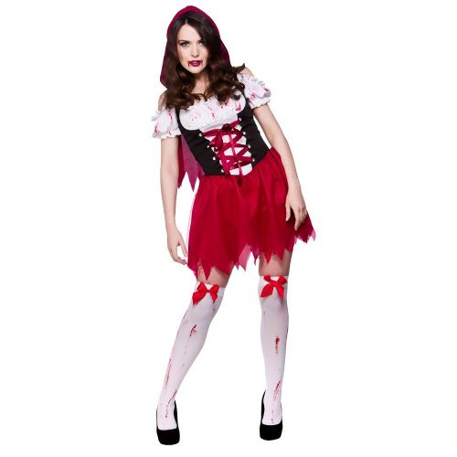 Adult Ladies Little Dead Riding Hood Costume Zombie Walker Halloween Fancy Dress